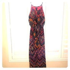 Bold colored maxi dress .